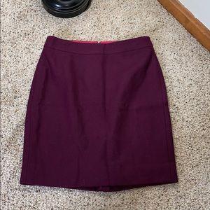 J. Crew Plum Wool Pencil Skirt- Size 00P